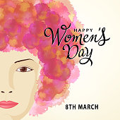 woman's head with watercolor hair for the International Women's Day