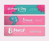 Womens Day sale set for holiday shopping. Special occasion web banner collection in modern paper cut style for online shop. Includes girl silhouette, cutout flowers and hand drawn typography. EPS10 vector.