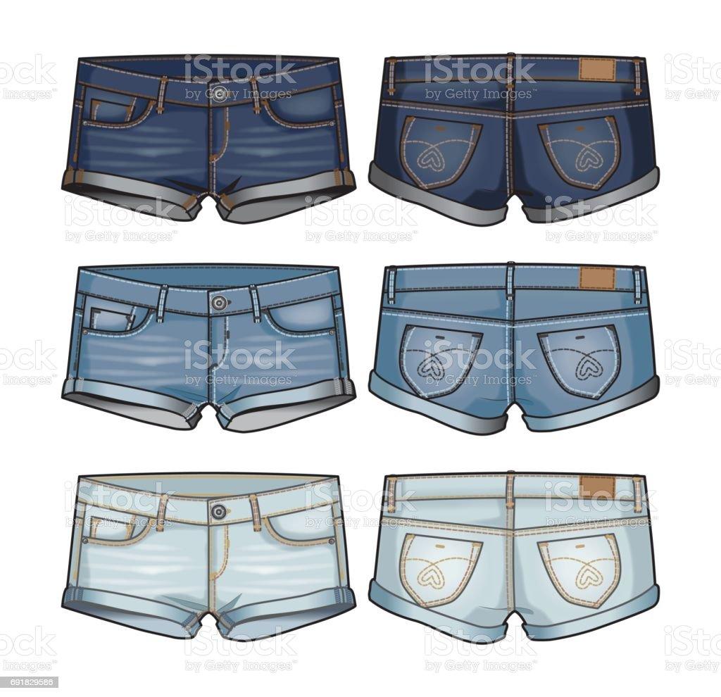 Damen kurze Jeansshorts – Vektorgrafik
