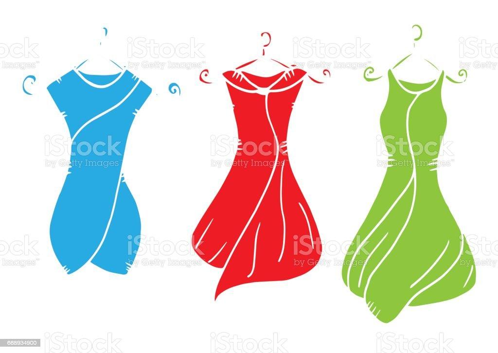 Vetores De Feminino Vestido Roupa Desenho Ilustração Vestido Sombra Vestuário Têxteis Ilustração Para Colorir Vestido Flor Laço Têxteis Pintado Imagem