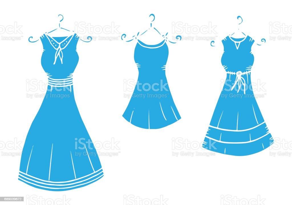 Damen Kleid Kleidung Zeichnung Illustration Kleid Kleidung Schatten ...