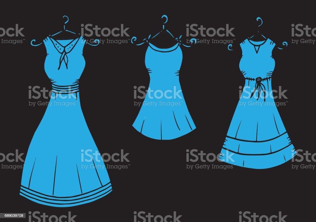 Vetores De Feminino Vestido Roupa Desenho Ilustração Vestido