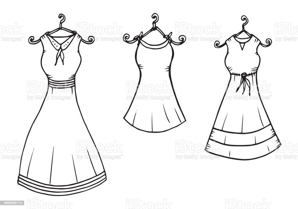 Kadin Elbise Giyim Cizim Illustrasyon Elbise Giyim Golge Tekstil