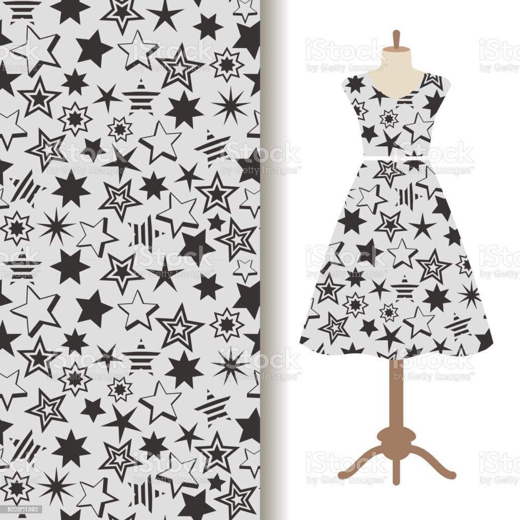 Ilustración de Las Mujeres Vestido De Patrón De La Tela Con ...