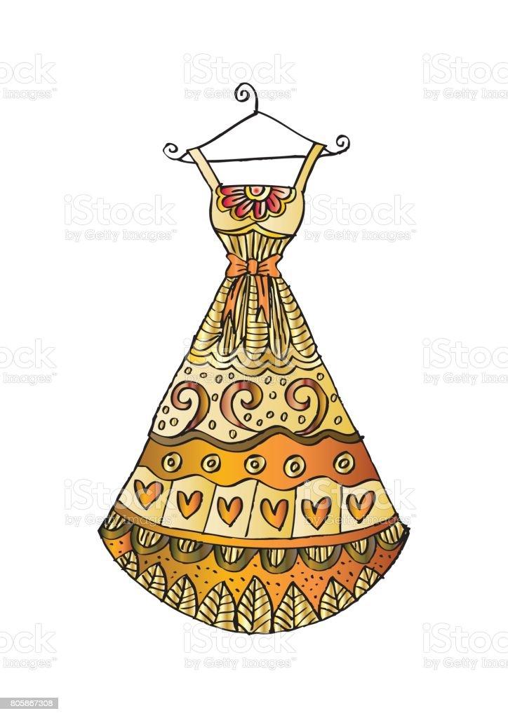 Damen Kleid Auf Einem Kleiderbügel Zentangle Stil Stock