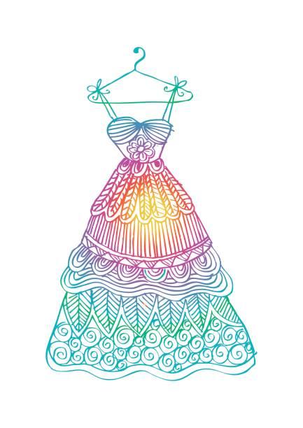 damen kleid auf einem kleiderbügel. - rosenhochzeitskleider stock-grafiken, -clipart, -cartoons und -symbole