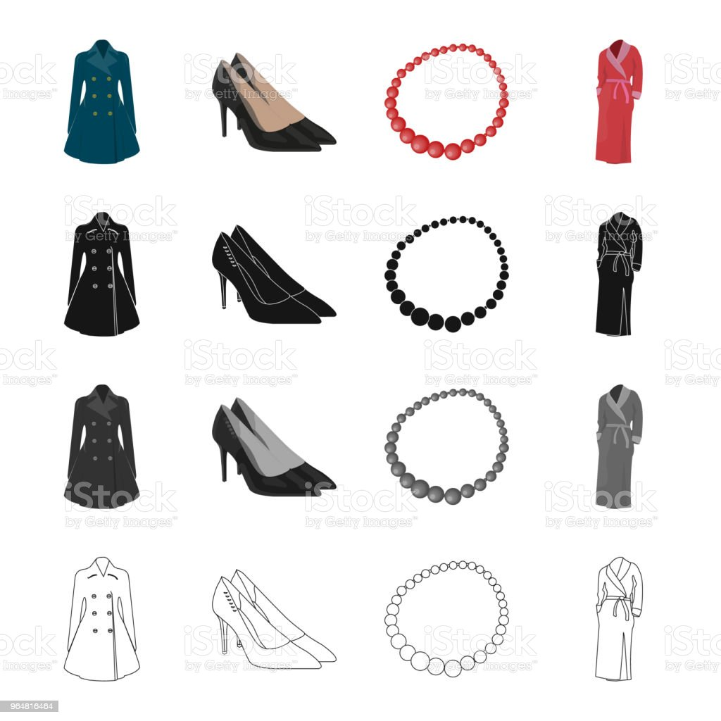 Women's dress, shoes, beads, clothes warm robe. Women's clothing and accessories set collection icons in cartoon black monochrome outline style vector symbol stock isometric illustration web. royalty-free womens dress shoes beads clothes warm robe womens clothing and accessories set collection icons in cartoon black monochrome outline style vector symbol stock isometric illustration web stock vector art & more images of adult