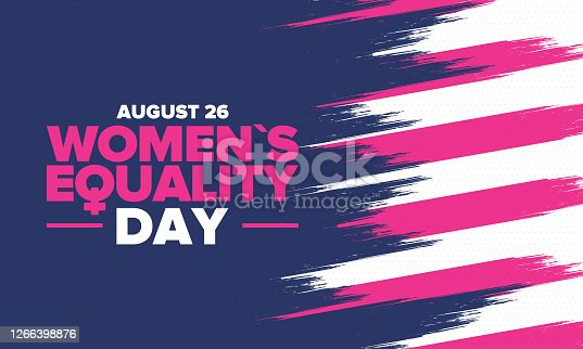 istock Women's Equality Day in United States. Female holiday, celebrated annually in August 26. Women right history month. Feminism concept. Poster, greeting card, banner and background. Vector illustration 1266398876
