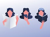 Women's everyday activity lifestyle icons set. Vector illustration