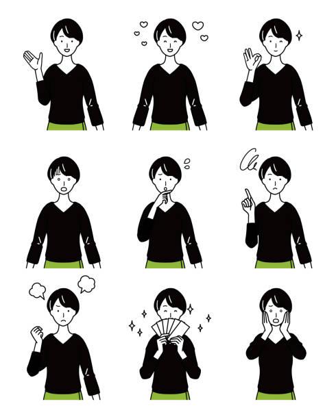 ilustrações de stock, clip art, desenhos animados e ícones de women's expression variation set. - da cintura para cima