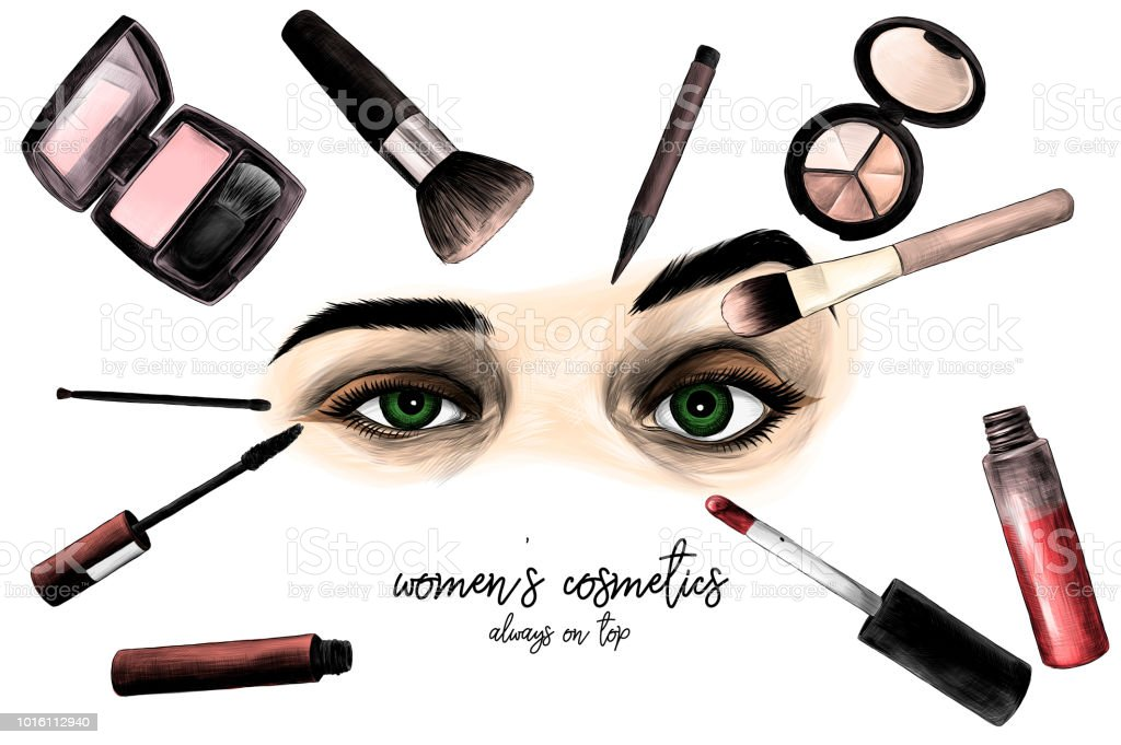 Women s eyes surrounded by cosmetics and makeup brushes composition with  inscription - Illustration . 47792e3e5