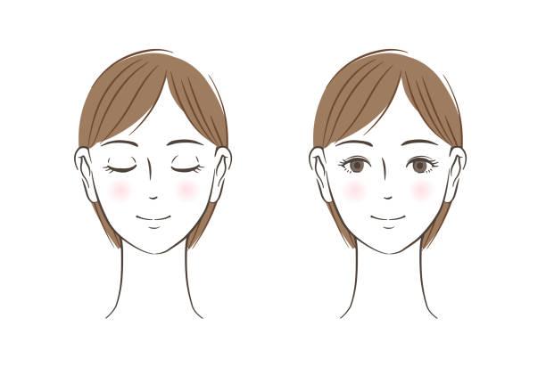 illustrazioni stock, clip art, cartoni animati e icone di tendenza di women's face set, closed eyes, open eyes - smile woman open mouth