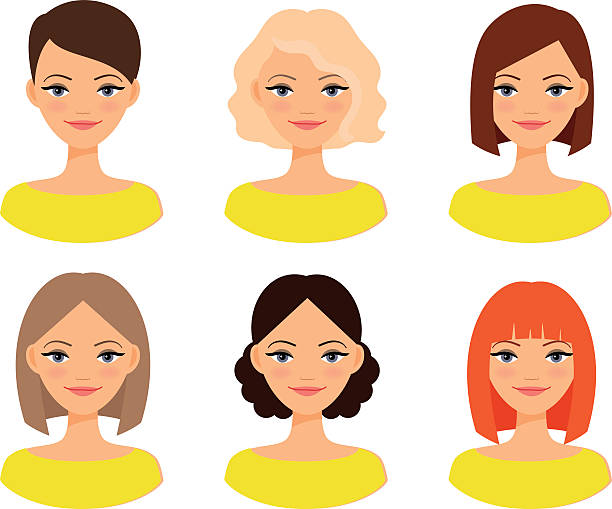 stockillustraties, clipart, cartoons en iconen met womens faces with different hairstyles - blond curly hair