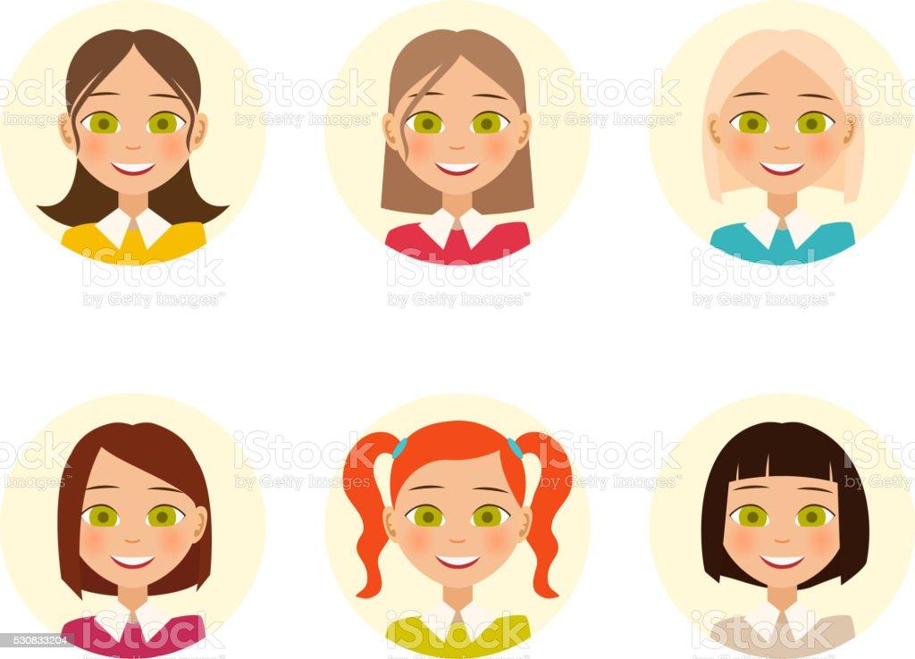 Frauen Gesichter Frau Mit Verschiedenen Frisur Farbe Und