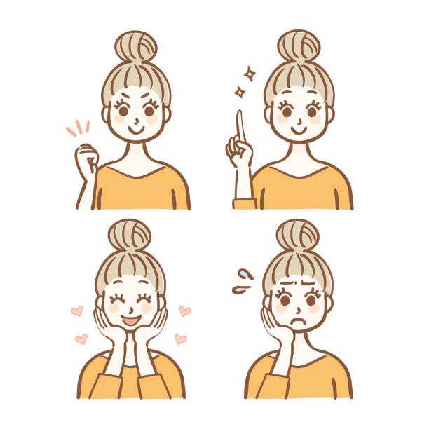 illustrazioni stock, clip art, cartoni animati e icone di tendenza di women's facial expression set - solo giapponesi