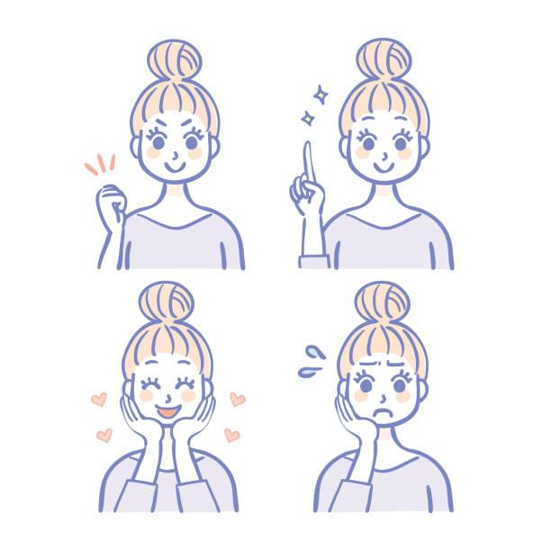 女性用表情セット - 女性 笑顔点のイラスト素材/クリップアート素材/マンガ素材/アイコン素材