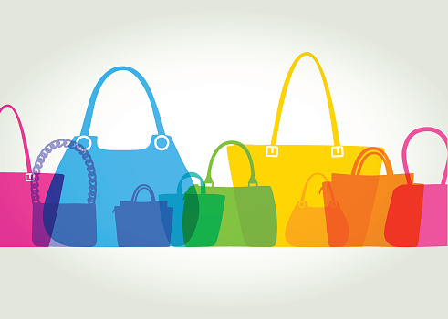 Colourful overlapping silhouettes of Womens Fashion Bags. EPS10, CS5 version in zip