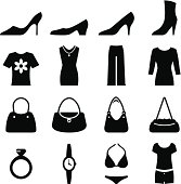 Women's shoes, bags, clothing and accessories. Professional icons for your print project or Web site. See more in this series.