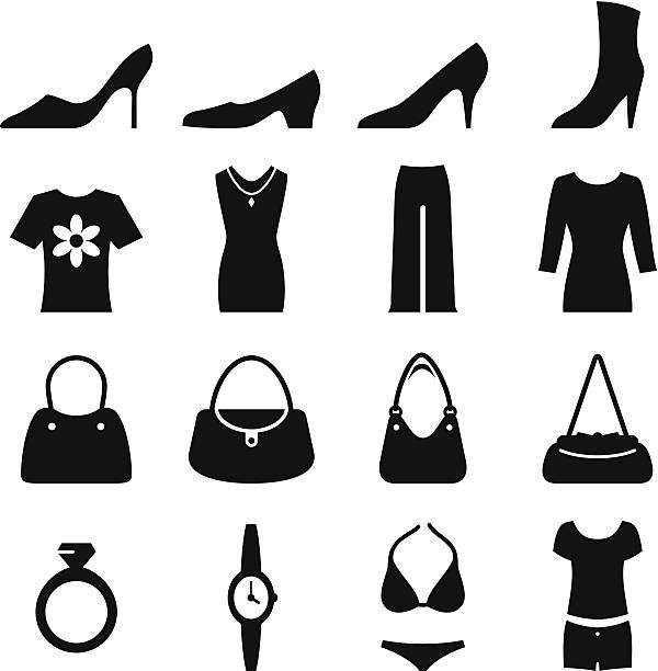 women's fashion - black series - shoes fashion stock illustrations, clip art, cartoons, & icons