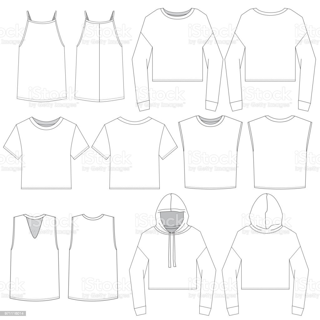 Women's Fashion top template vector art illustration