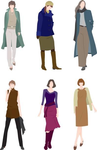 女性のファッション - 秋のファッション点のイラスト素材/クリップアート素材/マンガ素材/アイコン素材