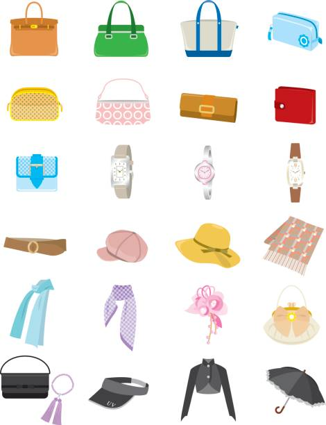 Women's fashion Various items front stoop stock illustrations