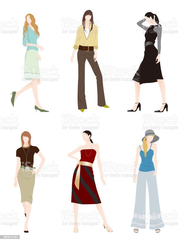 女性のファッション ベクターアートイラスト