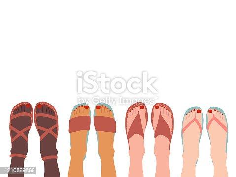 women's feet wearing summer sandals