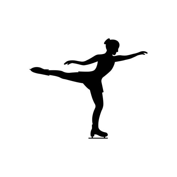 Women's figure skating. Isolated icon Women's figure skating. Isolated icon on white background. figure skating stock illustrations