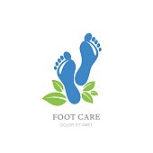 Womens foot care vector label design. Sole and green leaves.