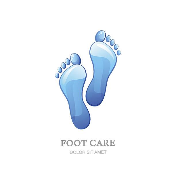 womens foot care vector label design. - fußpflegeprodukte stock-grafiken, -clipart, -cartoons und -symbole
