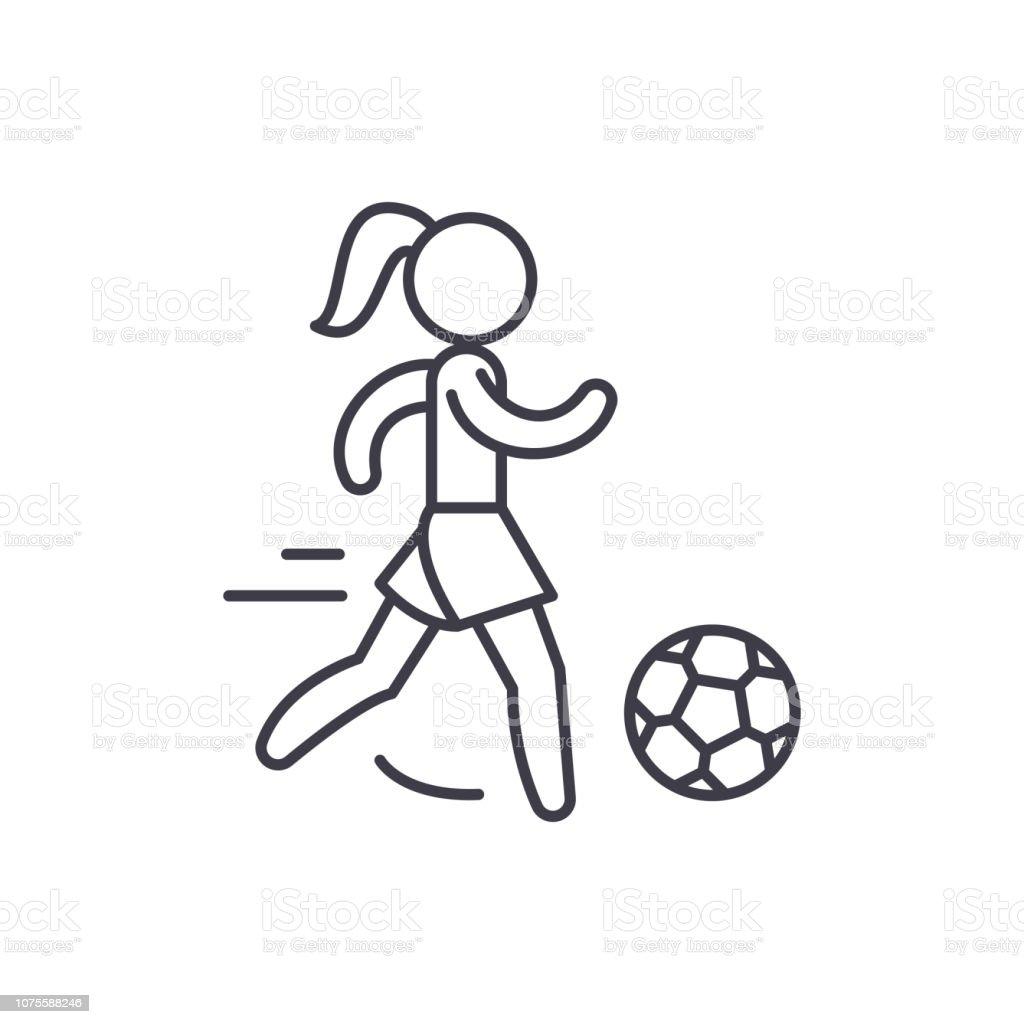Frauen Fussballsymbol Anlagenkonzept Frauen Fussball Lineare