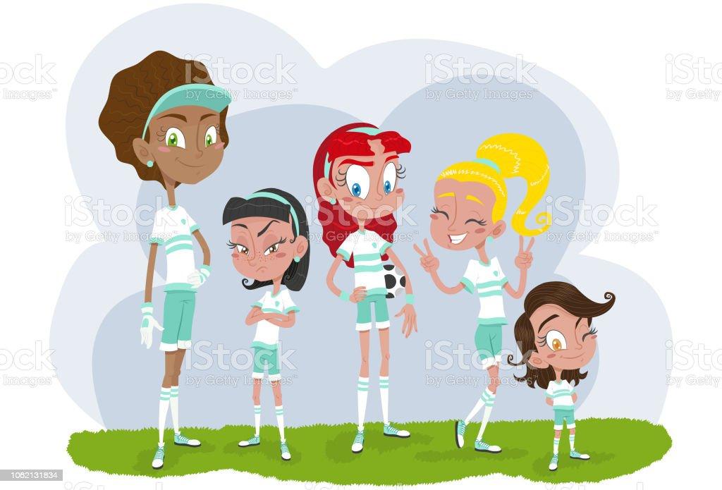 Jogadores de futebol feminino - ilustração de arte em vetor