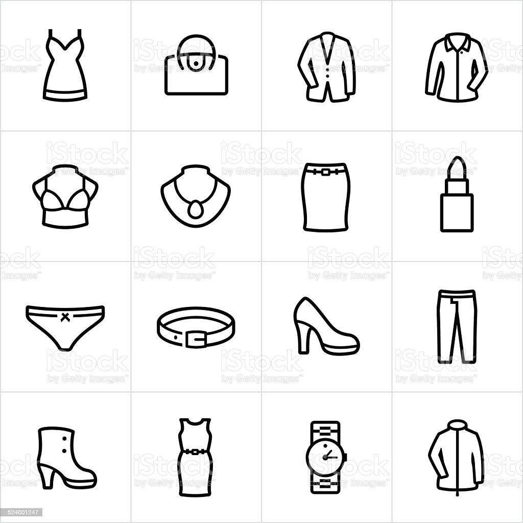 Damen formelle Kleidung Symbole-Linie Stil – Vektorgrafik