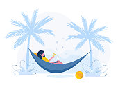 Womens freelance. Girl with laptop lies in hammock under palm trees with cocktail. Concept illustration for working outdoors, studying, communication, healthy lifestyle. Flat style