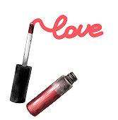 women's gel lip gloss outdoor bottle tassel written word love sketch vector graphics color illustration on white background