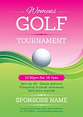 Pink and green womens golf poster. Global colours used.