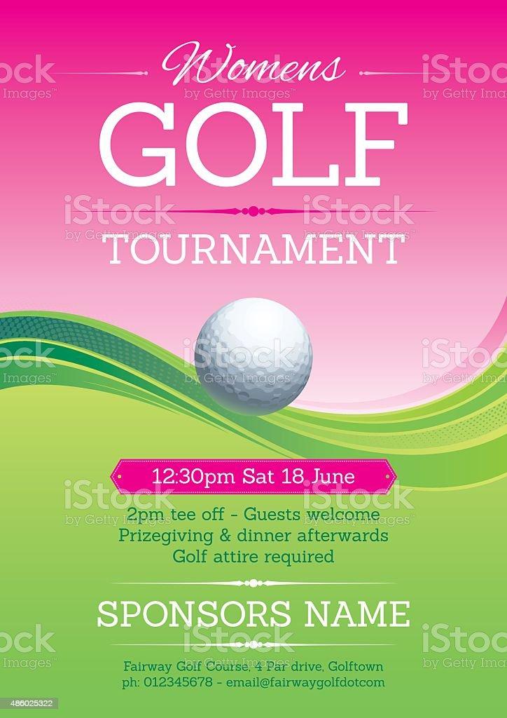 Womens golf poster vector art illustration