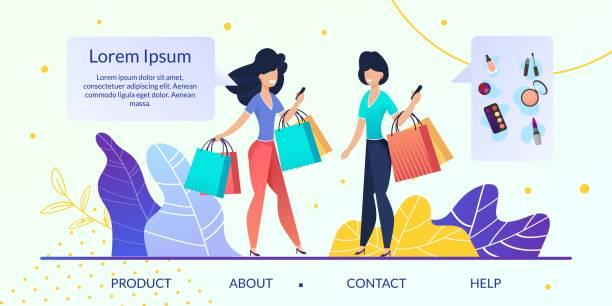 bildbanksillustrationer, clip art samt tecknat material och ikoner med womens varor online store flat vector webbplats - kvinna förpackning skönhetsprodukt väljer
