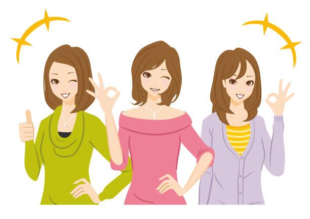女性のグループは ok サインです。 - 笑顔 女性点のイラスト素材/クリップアート素材/マンガ素材/アイコン素材