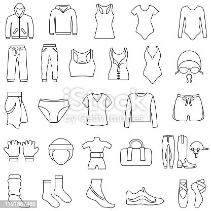 Single color black outline icons of women's gym and sportswear clothing. Isolated.