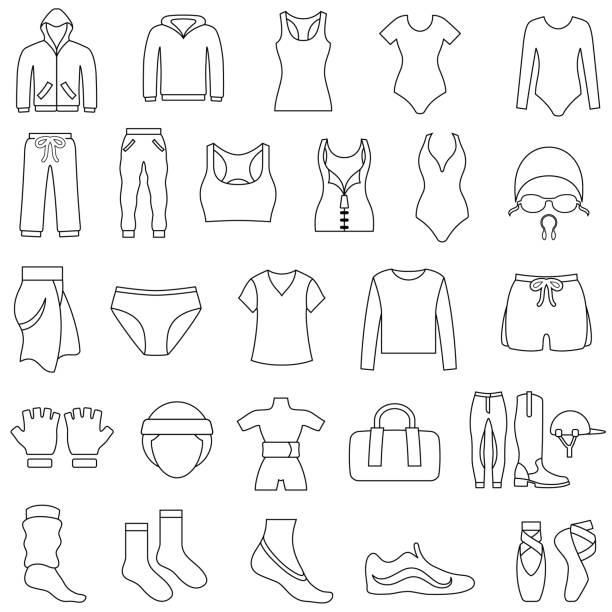 stockillustraties, clipart, cartoons en iconen met vrouwen gym en sportkleding overzicht pictogrammen - sportkleding