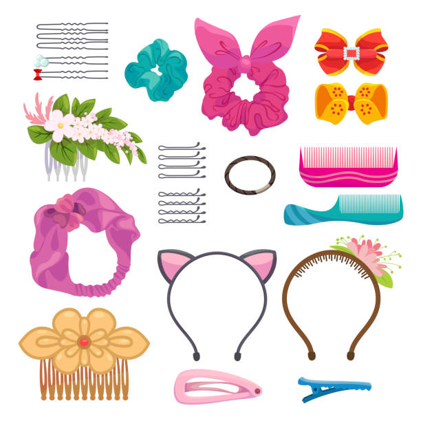 Womens hair clips and elastic bands illustrations set vector art illustration
