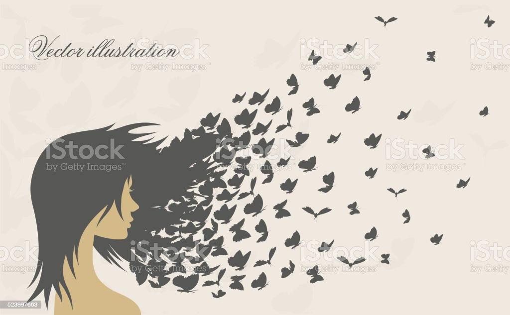 women's hairstyles and hair with loosened butterflies vector art illustration