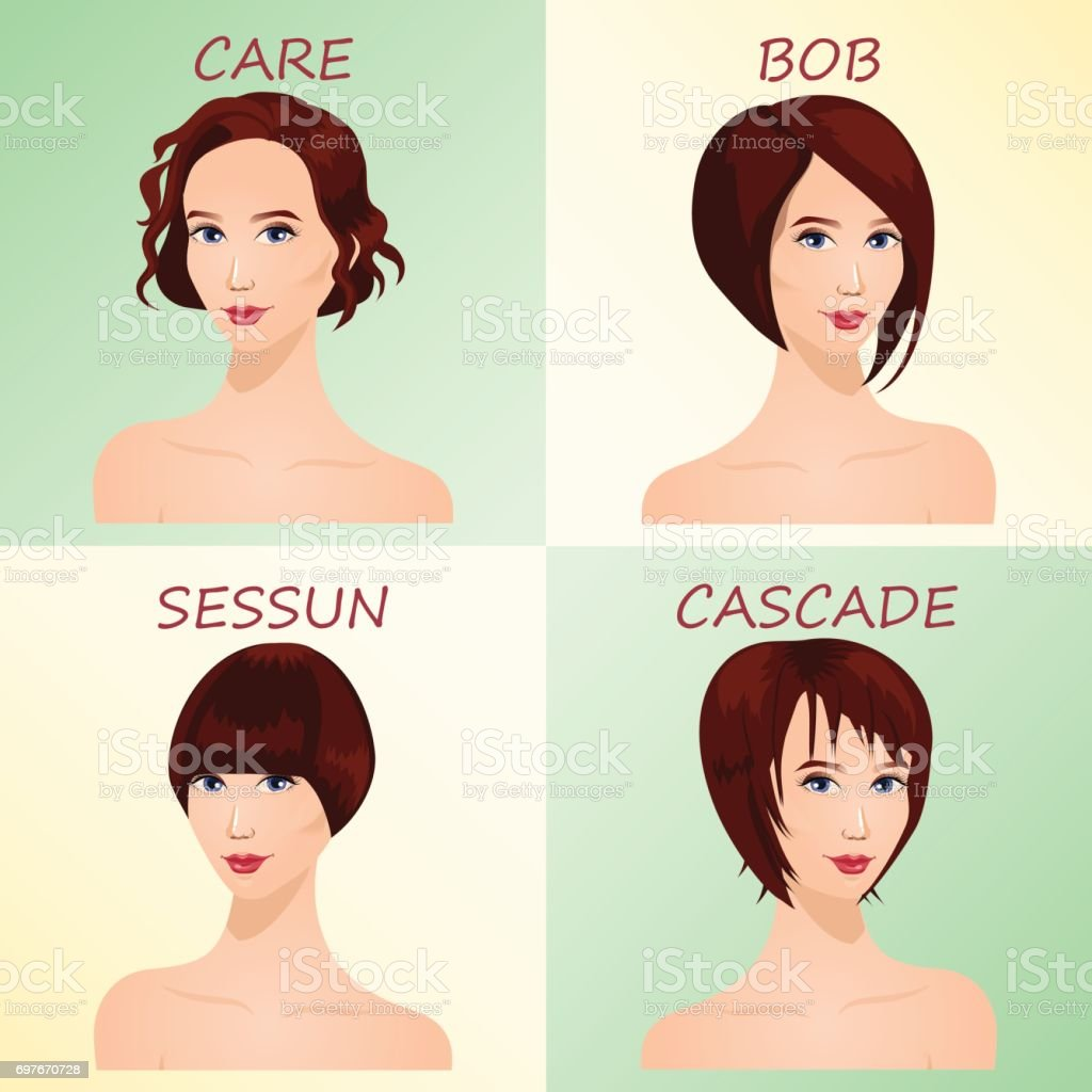 Womens Hairstyles For Short Hair Stock Illustration - Download Image Now -  iStock