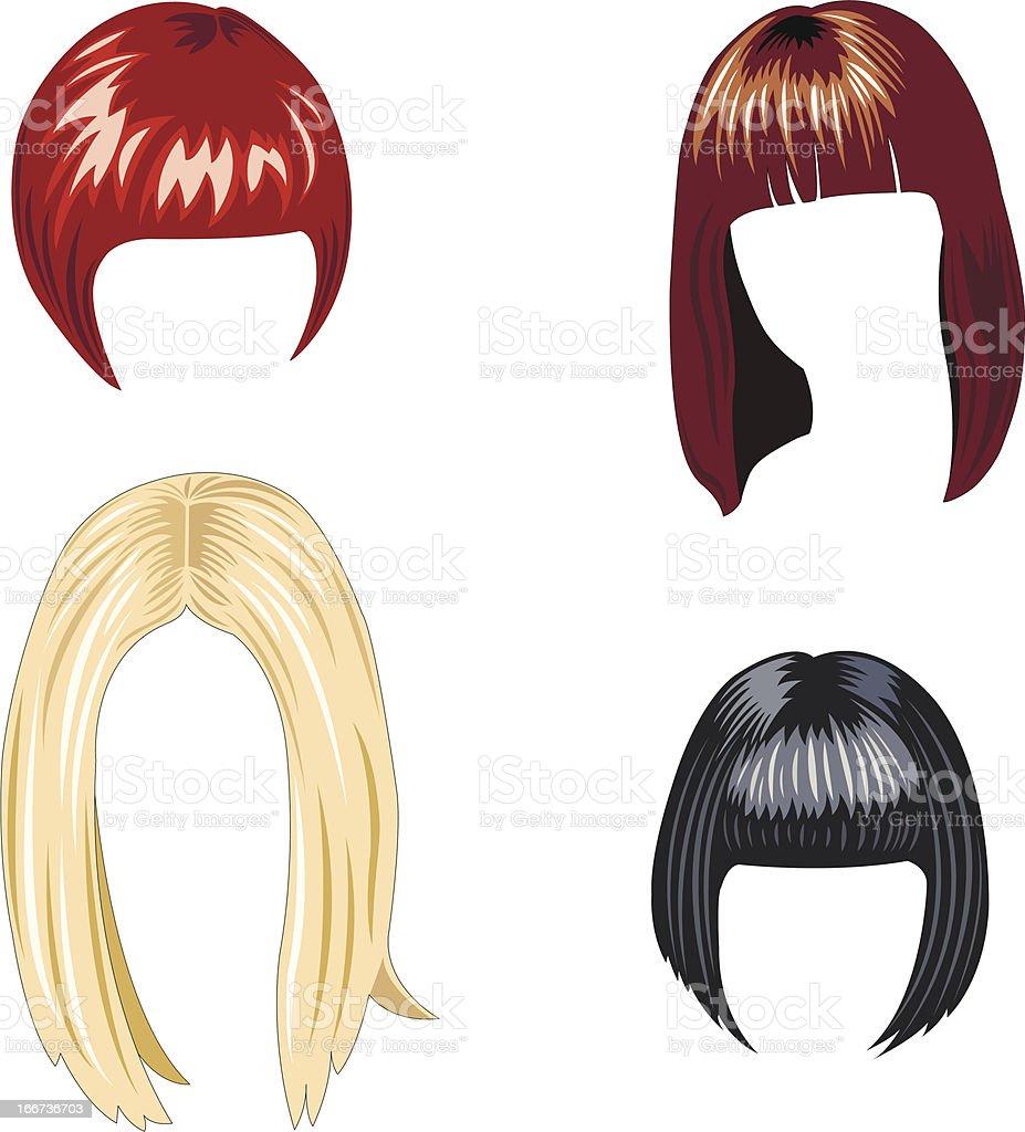 women's hairstyles vector art illustration