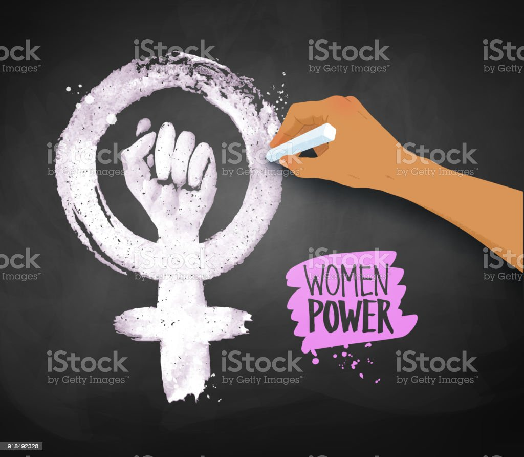 Womens Hand Drawing Feminism Protest Symbol Stock Vector Art More