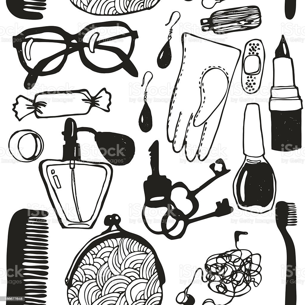 Women's handbag and its contents. Pattern royalty-free womens handbag and its contents pattern stock vector art & more images of adhesive bandage