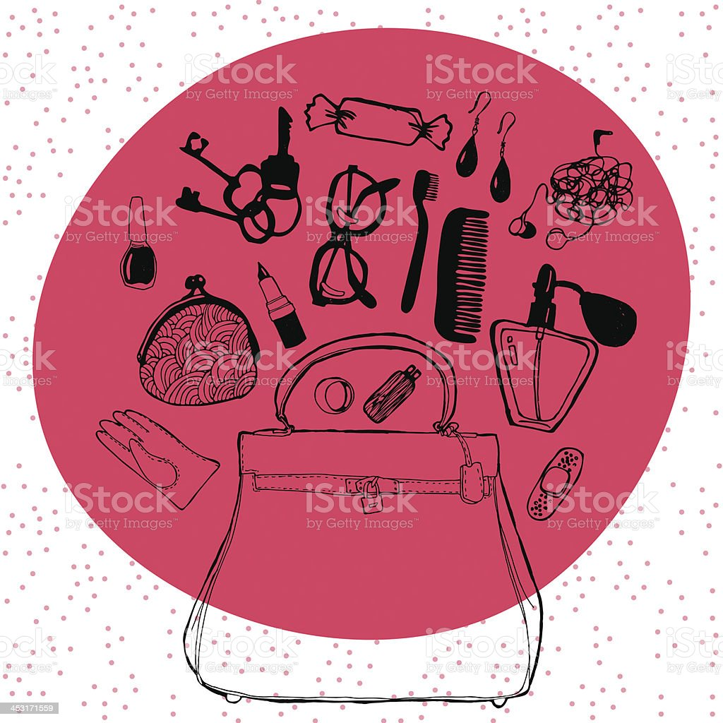 Women's handbag and its contents. Pattern royalty-free stock vector art
