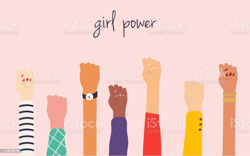 Frauenhände. Girl Power. Feminismus Symbol. - Lizenzfrei Abzeichen Vektorgrafik